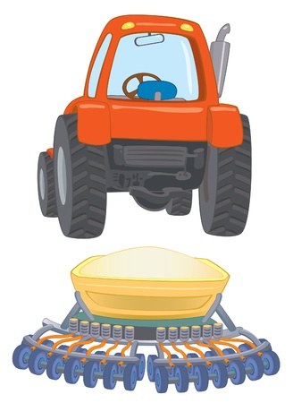 farm travctor with planter  Stock Vector - 14530282