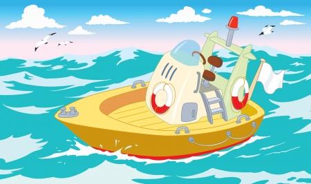 coast guard: bote de rescate en el mar Vectores
