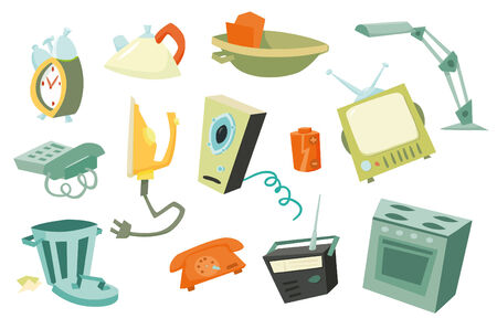 speakers desk: Colorful household items