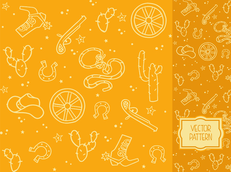 Seamless pattern with decorative elements on the theme of the Wild West Illustration