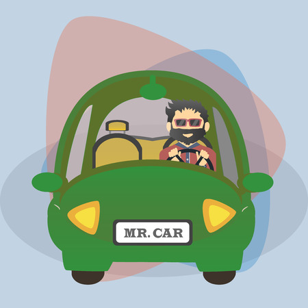 car driver: Flat cartoon charachter driver in the car . Hipster driving eco car.