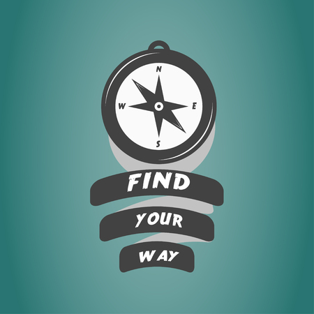find your way: vintage compass icon with motivation text find your way Illustration