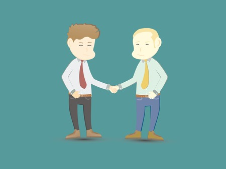 young business man: two cartoon businessmen shake hands as a sign of a successful deal, Greeting men handshake Illustration