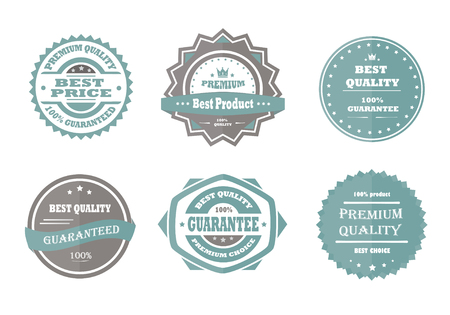 quality guarantee: Guarantee, premium quality and best choice vintage retro blue badges Illustration