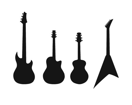 A set of silhouettes of various guitars. Bass , electric guitar , acoustic
