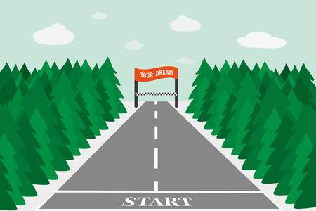 Concept motivating to achieve the objectives . The easy way to your dream . Race to the finish line where your goals in life