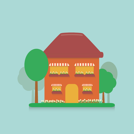 planted: flat cartoon house in the suburbs with a small plot planted with flowers, daisies and planted trees on blue background
