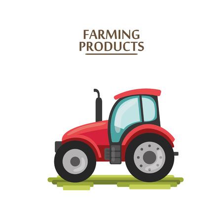 cartoon tractor: flat cartoon red tractor. farmer production machine Illustration