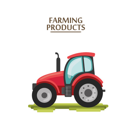 flat cartoon red tractor. farmer production machine Illustration