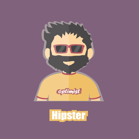 jobless: flat cartoon image of hipster, jobless, optimist on isolated backgound, profession character