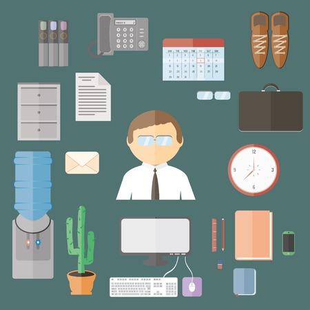 articulos de oficina: flat cartoon office items set.