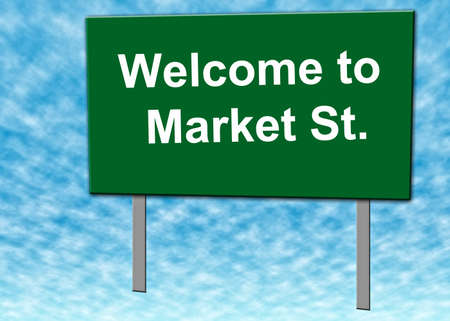 Welcome to Market St  sign with blue sky and clouds