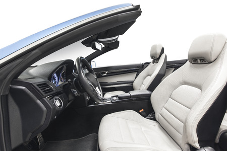 Car interior cabriolet. Comfortable modern salon