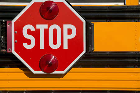 School Bus Stop Sign Stock Photo