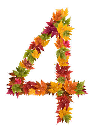 The number 4 made from autumn maple tree leaves. Stock Photo