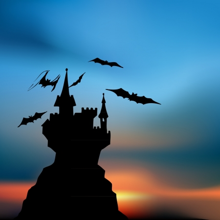 Scary gothic cartoon castle Vector