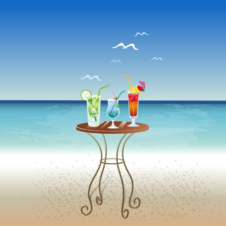 Three cocktails on a table Vector