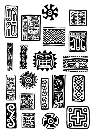 Ethnic icons set Vector