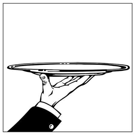 Hand holding empty tray Vector