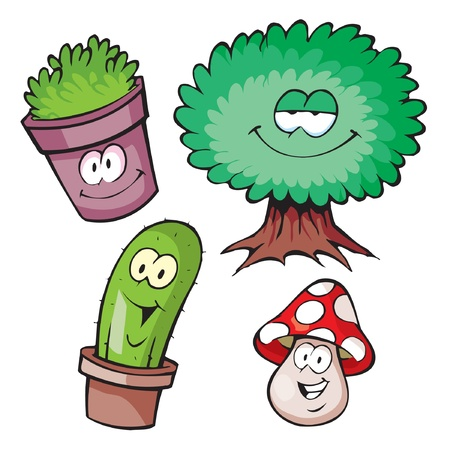 Funny cartoon character plants Vector