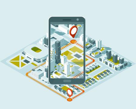 Plan isométrique de la ville avec la route et les bâtiments sur le téléphone intelligent. Carte sur l'application mobile. Vecteurs