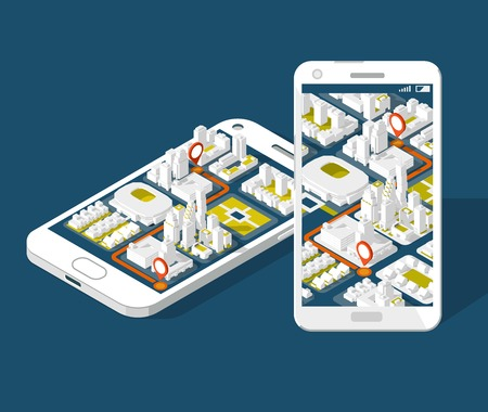 City isometric plan with road and buildings on smart phone. Map on mobile application.