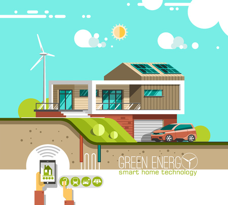 Green energy and eco friendly modern house on mountain landscape background. Solar, wind power.