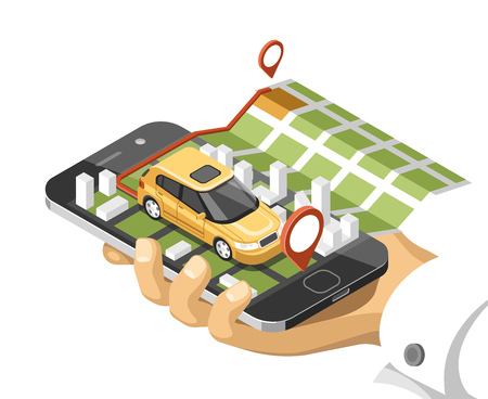 City isometric map with car and buildings on smart phone. Map on mobile navigate application. Illustration