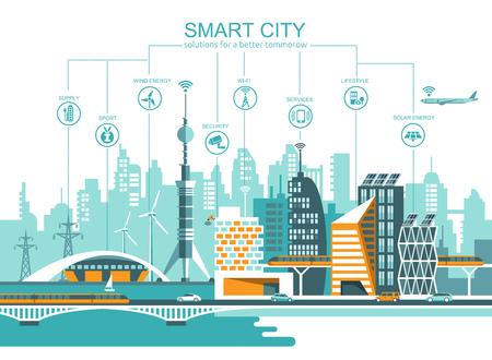 Smart city flat. Sfondo di paesaggio urbano con diverse icone ed elementi. Architettura moderna. Controllo del cellulare