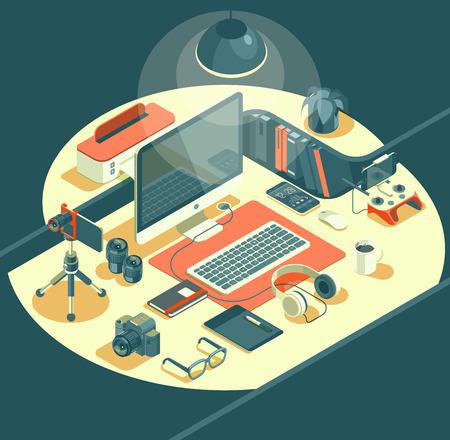 Isometric 3d workspace concept