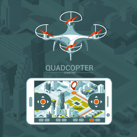 Vector Illustration with quad copter flying over the city and controller on isometric background. Drone delivery, remote control. Isometric style. Ilustração