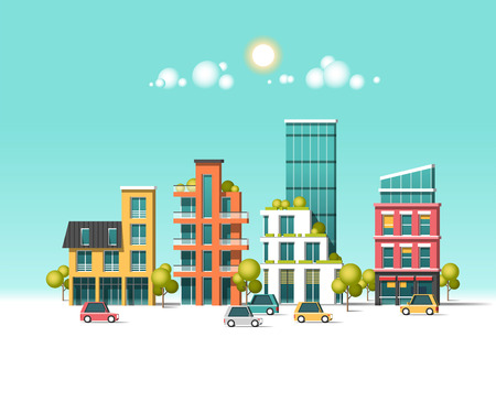 Green energy and eco friendly city flat vector illustration. Illustration