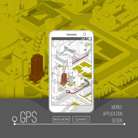 map pin: Mobile gps and tracking concept. Location track app on touchscreen smartphone, on isometric city map background. 3d vector illustration.