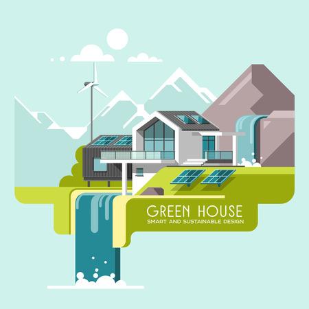 Eco-vriendelijk modern huis. Groene architectuur. Zonnepaneel, windturbine, groen dak. Vectorillustratie, grafische informatie, lijnstijl.