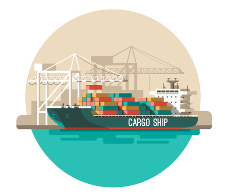 Delivery service concept. Container cargo ship loading, truck loader, warehouse. Flat style vector illustration. Stock Illustratie