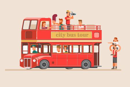 People go on the red tourist bus and take pictures of landmarks. 3d vector illustration. Çizim
