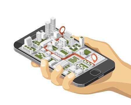 Gps móviles y concepto de seguimiento. Aplicación de seguimiento de ubicación en el teléfono inteligente con pantalla táctil, en el mapa isométrico del mapa de la ciudad. 3d ilustración vectorial. Ilustración de vector