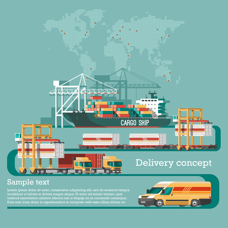 car: Delivery service concept. Container cargo ship loading, truck loader, warehouse, plane, train. Flat style vector illustration. Illustration