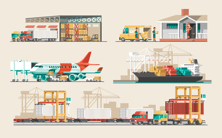 Delivery service concept. Container cargo ship loading, truck loader, warehouse, plane, train. Flat style vector illustration. Stock Illustratie