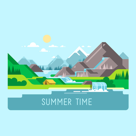 Flat design nature landscape illustration with sun, mountains and clouds. Camping in the mountains.