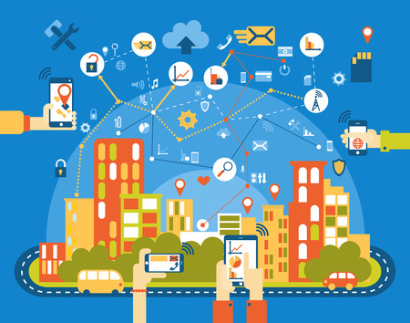 Smart city flat. Cityscape background with different icon and elements. Modern architecture. Mobile phone control.