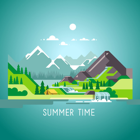 Flat design nature landscape illustration with sun, mountains and clouds.