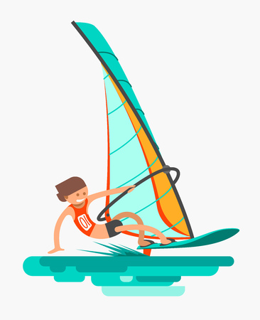 Man rushes on the board with sail. Active lifestyle, windsurfing water sports flat vector illustration.