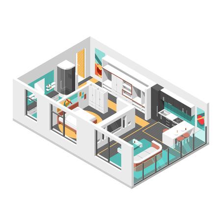 modern bathroom: Interior isometric design with living room, bedroom, bathroom and kitchen vector illustration Illustration