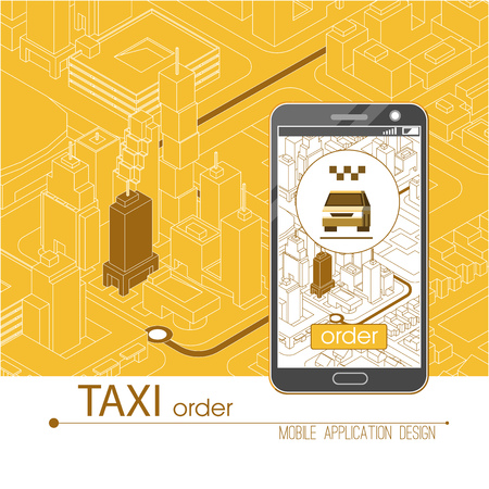 map pin: Taxi service mobile application. Isometric city and car on smart phone on smart phone. Navigate application. Vector illustration.