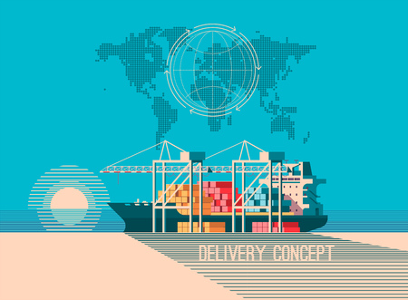 Delivery service concept. Container cargo ship loading, truck loader, warehouse. Flat style vector illustration. Vectores