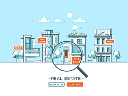 City landscape. Real estate and construction business concept with houses. Vector illustration. Illusztráció