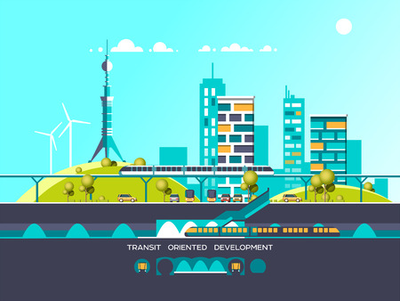 Flat illustration with city landscape. Transport mobility and smart city. Traffic info graphics design elements with transport, including bus, metro, train, cars. Illustration