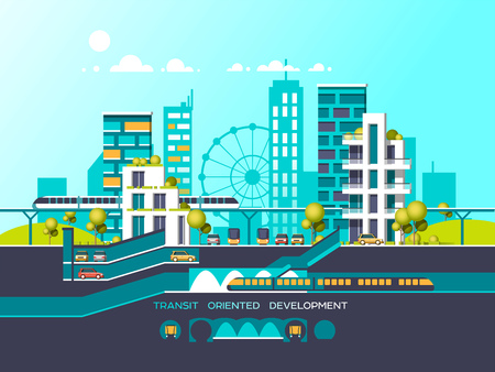 monorail: Flat illustration with city landscape. Transport mobility and smart city. Traffic info graphics design elements with transport, including bus, metro, train, cars. Illustration
