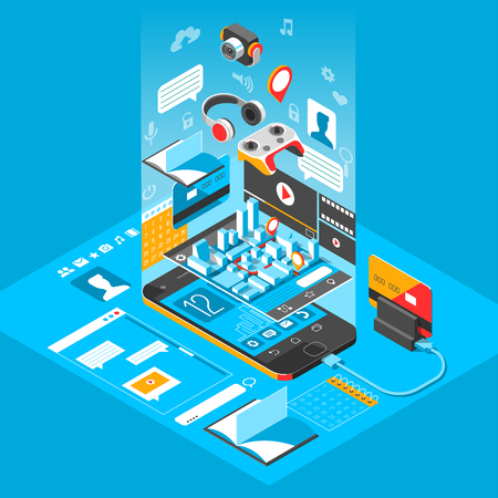 Isometric smart phone interface. Screen with different apps and icons. 3d vector illustration. Stock Photo